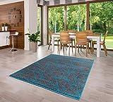 Luxus Designer Teppich Kurzflor Gemustert Dunkel Grau-Türkis Verschiedene Größen (80cmx150cm)