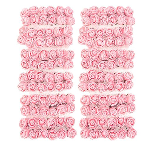 Ueb 144pcs teste di rose in schiuma mini rose finte per decorazioni bouquet fiori artificiali decorazione per matrimonio festa auto casa diy ghirlanda di fiori da sposa (rosa)