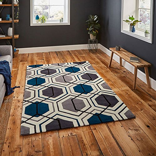 Preisvergleich Produktbild Think Rugs Hong Kong 7526handgetuftet Teppich, grau/marineblau, 90x 150cm