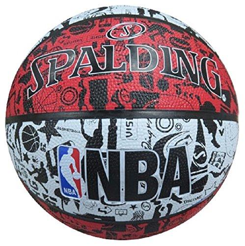 Spalding NBA Graffiti Outdoor 83-574Z Balón de Baloncesto, Unisex, Rojo / Negro / Blanco, 7