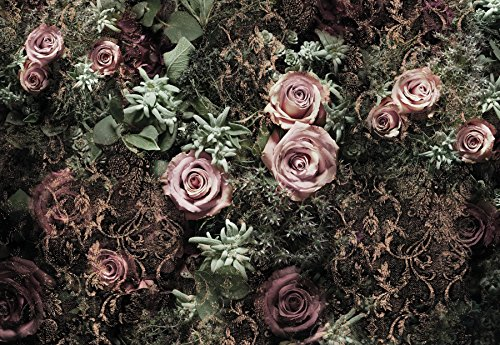 *Komar 8-980 Tapeten-WandbildVelvet Flower Floral, Blumenmotiv,368x 254cm, Rosa, 8Stück*