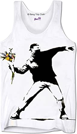 Débardeur imprimé Banksy pour homme - Motif lanceur de fleurs