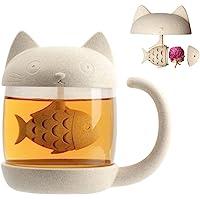 Cymax Mug Tasse de Chat, tasse à thé en verre pour chat avec filtre à infuseur à thé pour poissons, cadeau d…
