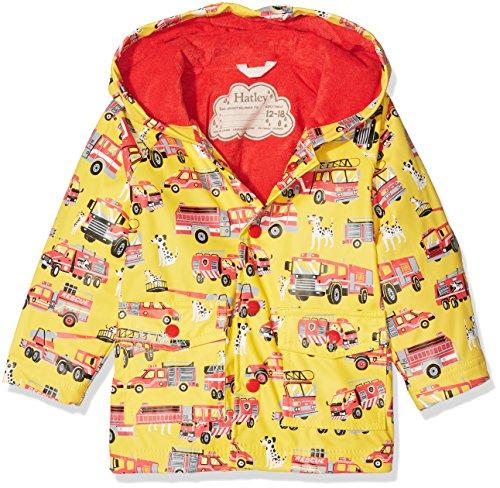Hatley Mini Printed Raincoat Manteau imperméable, Jaune (Fire Trucks 700), 24 Mois Bébé garçon