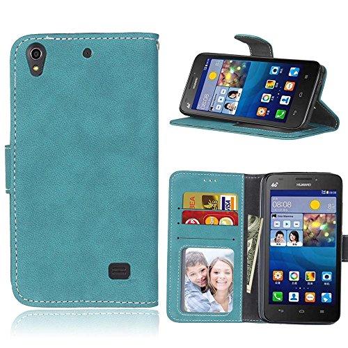 Huawei Ascend G620s Coque Lanyard Dragonne Portefeuille étui en cuir PU,Huawei Ascend G620s Flip magnétique Cas avec support Béquille de carte,Cozy Hut Créatif Simple Book Style [Anti-scratch] Retro Matte Motif Prime Ultra Slim Fit Wallet Protecteur Étui Coque Flip PU Cuir Portefeuille Etui Housse Coque Coquille avec Stand et les fentes de carte de crédit pour Huawei Ascend G620s - exfoliants bleu