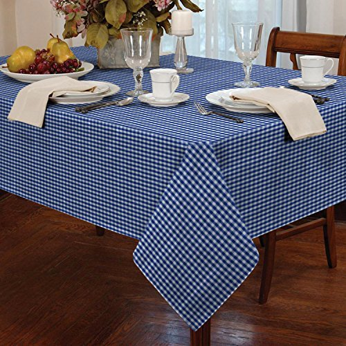 Gingham Check Oblong Tablecloth Dining Room or Kitchen Table Linen 60 x 90 (Blue) by Classic Home Store
