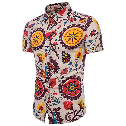 UJUNAOR Männer Sommer Bohé Blumendruck Kurzarm Hawaii Grundlegende T-Shirt Bluse Top 5XL für Oktoberfest(Gelb,CN L) - Gelbe Hawaii-shirt