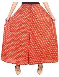 Fashion Store Women's Cotton Stylish Printed Full Flair Multi Colored Plazo (Free Size, Orange)