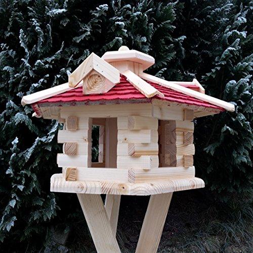 Qualitäts Vogelhaus mit Holzschindeln 6 Eck lasiert Vogelhäuser-Vogelfutterhaus großes Vogelhäuschen-aus Holz Wetterschutz (Rot) - 3