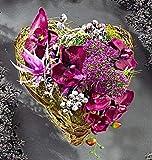 GKA Grableger Grabschmuck Rattan Blumenherz mit Orchideen Allium Grab Kunstblumen Rattanherz Herz Urnengrab Dekoration Grabblumen Blumen
