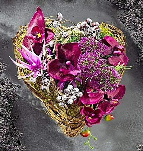 GKA Grableger Grabschmuck Rattan Blumenherz mit Orchideen Allium Grab Kunstblumen Rattanherz Herz Urnengrab Dekoration Grabblumen Blumen -