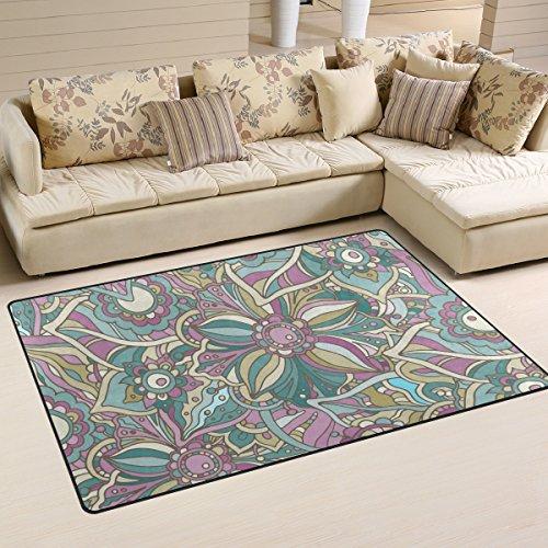 coosun Hippie Doodle flores y hojas área alfombra alfombra alfombra de suelo antideslizante Doormats para salón o dormitorio, tela, multicolor, 60 x 39 inch