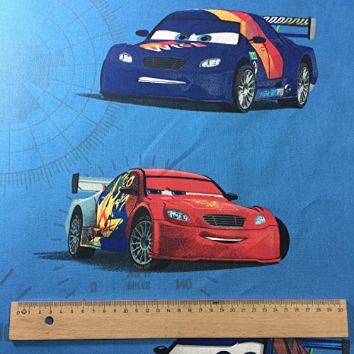 Licensed by Disney Pixar - Blue Cars Velocity Novelty Print Premium Grade 100% Cotton Fine Weave Children's Curtain Bedding Fabric 142 cm Wide - Sold by the Metre by Lag3