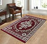 Zircone Ethnic Premium Design Chenille Carpet/Mat/Rug (5 ft x 7 ft ) For Living Room/Bedroom/Drawing room & Dining Hall (Dk Maroon)