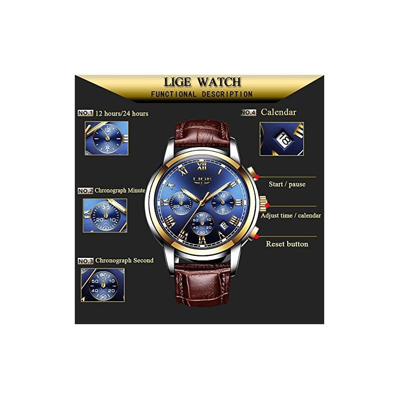 Mens Watches Leahter Analog Quartz Watch Men Date Business Dress Wristwatch Men's Waterproof Sport Clock