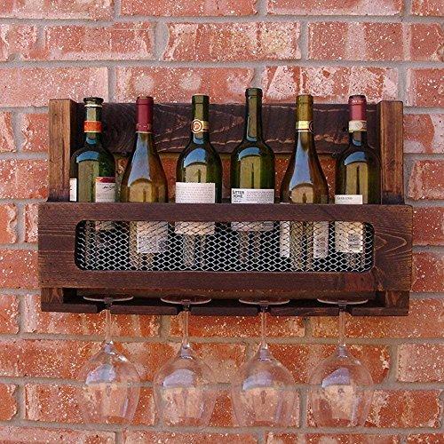 HAIZHEN Amerikanischen Landhausstil Kiefer Holz Weinregal Wandmontage Weinschrank Coffee Shop Wein...