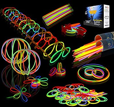 JOYIN Pack de 200 Pulseras Luminosas Fluorescentes Barras Luminosas Collares Gorra Gafas Pendientes Pulseras Glow Palo de luz Partido 7 Colores Tubos Fluorescentes de Joyin Inc.
