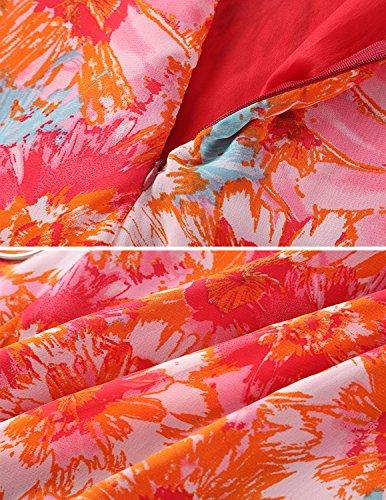 Modetrend Femmes Imprimé Floral Robe Col V Dos Nu De été Longue Robe De Plage Mousseline de Soie Robe de Cocktail Soirée Orange