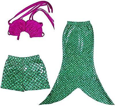 GenialES® 3 Pcs Bañador de Niñas Disfraz de Princess Mermaid Tail Costume Swimsuit Swimwear Bikini Monofin Verde Top Fucsia 2-8 años