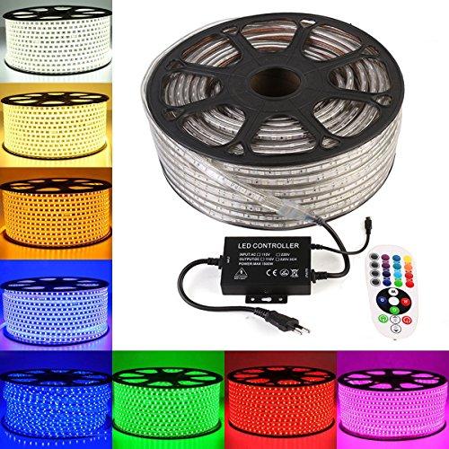 GreenSun LED Lighting 30M 5050 SMD RGB LED Streifen Strip mit 24 Tasten Fernbedienung RF Controller Lichter RadioFrequency 60 LEDs/M für Innen und Außen Wasserdicht IP68 Lichtband Flex Band -