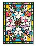 dpr. Fensterbild Tiffany Optik Rose Rosenblüte Rosen Blumen einseitig Zart beglimmert - statisch selbsthaftende Folie - Fenstersticker Aufkleber