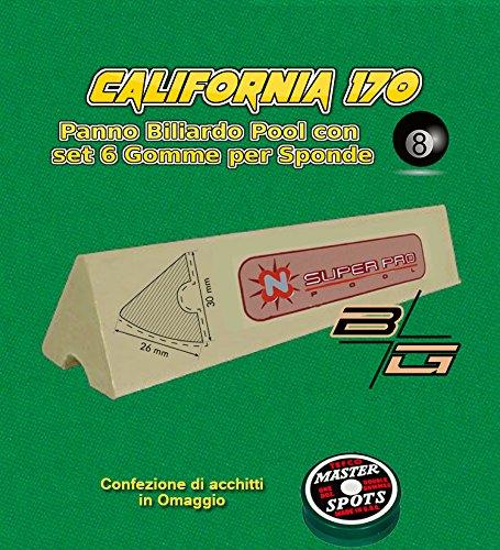Panno biliardo pool R.L. by Longoni California cm.340x170, verde per piano e sponde pool 9 piedi, con buche, misure campo da gioco cm.254x127, ardesia cm.272x145. con set di 6 gomme per sponde Super Pro K66 cm.120 ed