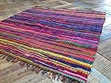 Second Nature Fair Trade Fransen Jahre Chindi Flickenteppich, Mehrfarbig,-Menü von vierzehn Größen erhältlich!, Baumwolle, Multi Colours, 180cm x 180cm