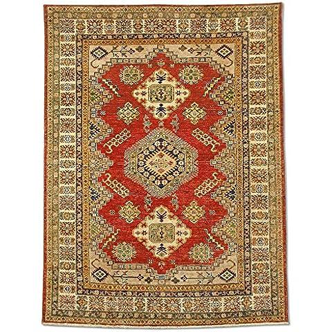 Tradicional hecha a mano Afgano Alfombra Kazak, Lana, rojo, 150x 199cm, 4'6