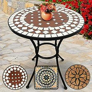 Jago Mosaiktisch Rund Ø 60cm - 70cm Hoch, in Rot-Weiß, Massiv und Stabil - Farb- und Designauswahl - Mosaik Beistelltisch, Garten-Tisch, Balkontisch