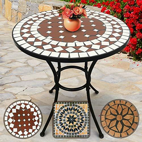 Jago Mosaiktisch Runde oder Eckige | 70cm Hoch, Massiv und Stabil, Farb- und Designwahl | Mosaik Beistelltisch, Garten-Tisch, Balkontisch, Kaffeetisch