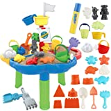 deAO 40 Pieces Sand and Water Outdoor Activity Table Play Set for Children with Water Blaster and Assorted Accessories…