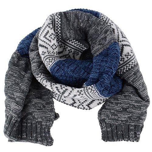 AONER 185 * 32cm Sciarpa Caldo a Maglia Invernale per Uomo Donna Unisex (BLU GRIGIO)