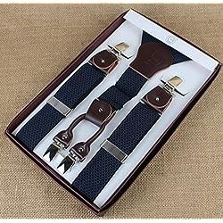 Panegy Cuero Tirantes Elásticos Ajustable Extra Fuerte 4 Pinzas Y - Forma Tirantes Suspenders (35mm) para Hombre Chico Adultos