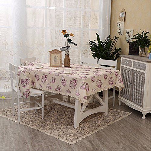 dyllische Wind Blumentisch Tischdecke Home Chinesische kleine rechteckige Tische, Lila, 140 * 220 frischen Stempel (Lila Polka Dot Tischdecke)