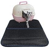 Splink Katzentoilette Unterlage Katzenstreu Matte Vorleger für Katzen, Dual Sturukture, Wasserdicht, Black Hole Design
