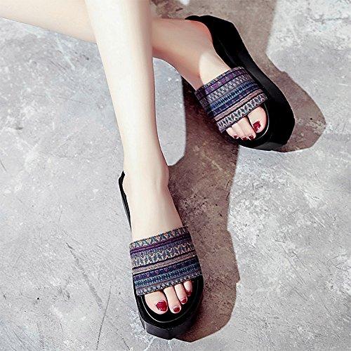 Estate Sandali Sandali estivi delle signore Studenti scarpe casuali sottili di spessore Colore / formato facoltativo Blu