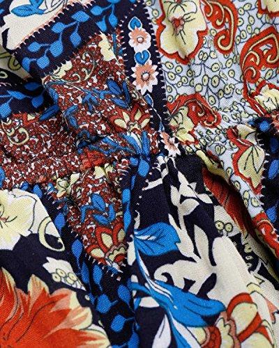 BIUBIU Damen Schulterfrei Strand Spielanzug Boho Blumendruck party Kleid Große Größen Blau
