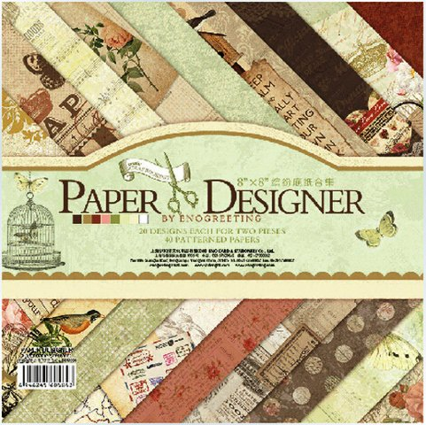 Set of 40 Thick Beautiful Pattern Design Printed Papers for Art n Craft, Size: 8x 8 Inch -20 Pc