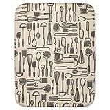 InterDesign iDry Tappetino lavello extra-large, Spesso tappetino cucina in poliestere e microfibra per asciugatura delle stoviglie, bianco/nero