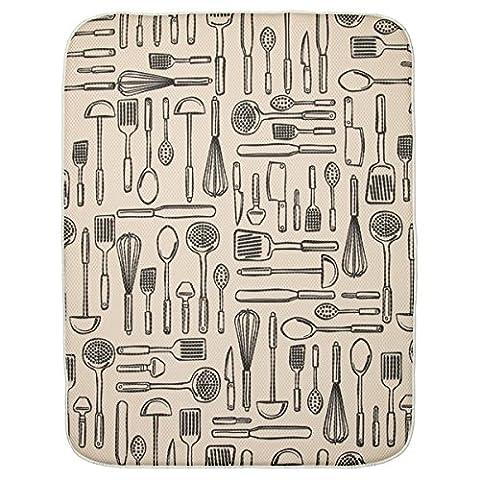 Interdesign 40410EU Tapis de Séchage de Cuisine Absorbant Idry - 60,96 x 45,72 cm, Extra Large, Blé / Ivoire Polyester Wheat/Ivory 60,96x0,254x45,72