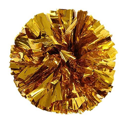 sunnymi ® Cheer Pom Rookie Ball Poms Cheerleading Party Dekor Metallic Folie Kunststoff Ring Handheld Sportveranstaltungen (Gold) -
