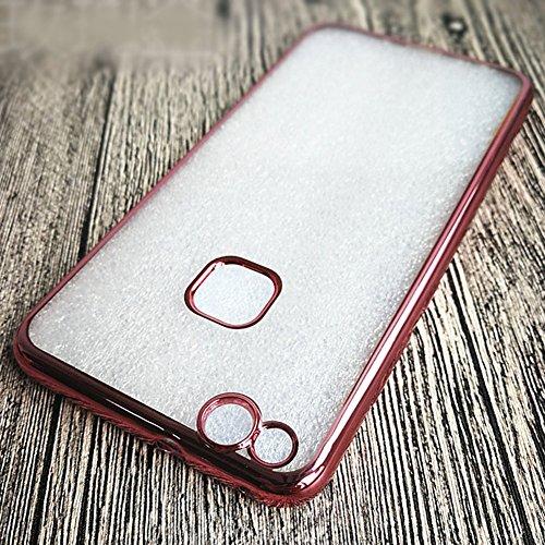 """Huawei P10 Lite (5.2"""") Hülle, MSVII® Durchsichtig Weich TPU Silikon Bumper Hülle Schutzhülle Case Und Displayschutzfolie für Huawei P10 Lite (5.2"""") - Rose Gold JY60005 Gold"""