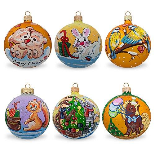 8,3cm set di 6animali palla di vetro ornamenti di Natale-Gatto, cane, coniglio, orso, scoiattolo e uccelli