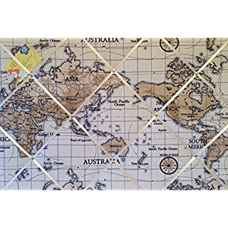 Large 60x40cm Fryetts World Atlas Map Nautical Vintage Hand Crafted Fabric Notice/Pin/Memo/Memory Board