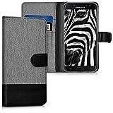 kwmobile Hülle für Samsung Galaxy J7 (2017) DUOS - Wallet Case Handy Schutzhülle Kunstleder - Handycover Klapphülle mit Kartenfach und Ständer Grau Schwarz