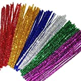 Kids B Crafty 100 Glitter Pipe Cleaners 30cm x 6mm Assorted Colours (50% More Tinsel On Each Pipe Cleaner)