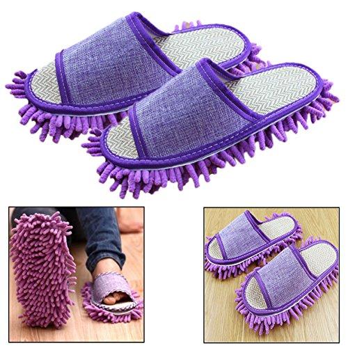 Itian Mikrofaser Reinigungstuch Hausschuhe,Multifunktionale Pantoffel Putz Hausschuhe Cover Abstauben Floor Reinigung -