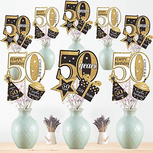 Blulu 50. Geburtstag Party Dekoration Set Goldene Geburtstagsparty Herzstück Sticks Glitter Tischdekoration für 50. Geburtstagsparty Lieferungen, 24 Packungen