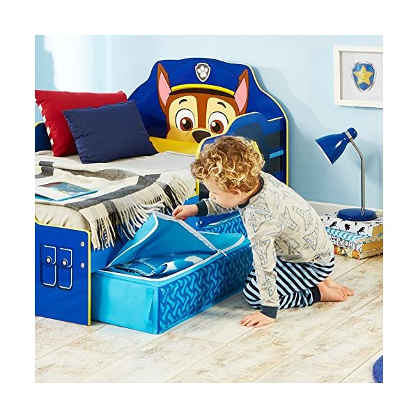 Paw Patrol Chase Kids Toddler Bed with Underbed Storage by HelloHome Paw Patrol Ideal transition from cot to bed - make the move to their first big bed magical with the Paw Patrol toddler bed with underbed storage from HelloHome, featuring Chase Takes cot bed size mattress - 140 (l) x 70 cm (w). Mattress not included. Assembled size (h) 68, (w) 77, (l) 145 cm Suitable for 18 months to 5 years, this blue kids bed is for your little Paw Patrol and Chase fan 3
