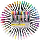 Surligneur Enfants Dessin Animé Mignon Glitter Gel Stylos Graffiti Gouache Peinture Stylos Fluorescents pour Étudiant - 48 Couleurs